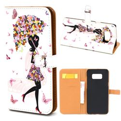 Flower Umbrella Girl Leather Wallet Case for Samsung Galaxy S8+ S8 Plus