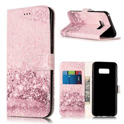 Glittering Rose Gold PU Leather Wallet Case for Samsung Galaxy S8 Plus S8+