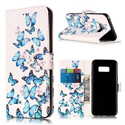 Blue Vivid Butterflies PU Leather Wallet Case for Samsung Galaxy S8 Plus S8+