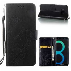 Embossing Butterfly Flower Leather Wallet Case for Samsung Galaxy S8 Plus S8+ - Black