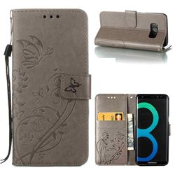 Embossing Butterfly Flower Leather Wallet Case for Samsung Galaxy S8 Plus S8+ - Grey