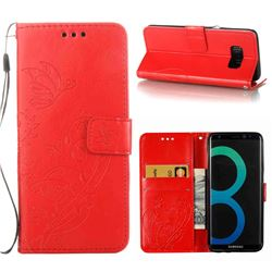 Embossing Butterfly Flower Leather Wallet Case for Samsung Galaxy S8 Plus S8+ - Red