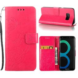 Embossing Butterfly Flower Leather Wallet Case for Samsung Galaxy S8 Plus S8+ - Rose