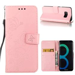 Embossing Butterfly Flower Leather Wallet Case for Samsung Galaxy S8 Plus S8+ - Pink