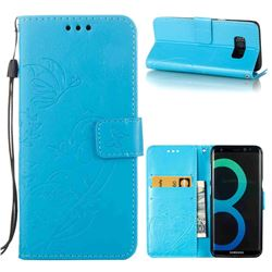 Embossing Butterfly Flower Leather Wallet Case for Samsung Galaxy S8 Plus S8+ - Blue