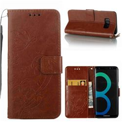 Embossing Butterfly Flower Leather Wallet Case for Samsung Galaxy S8 Plus S8+ - Brown
