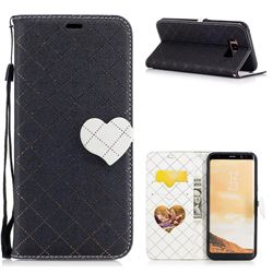 Symphony Checkered Dual Color PU Heart Leather Wallet Case for Samsung Galaxy S8 Plus S8+ - Black
