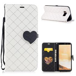 Symphony Checkered Dual Color PU Heart Leather Wallet Case for Samsung Galaxy S8 Plus S8+ - White