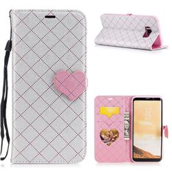 Symphony Checkered Dual Color PU Heart Leather Wallet Case for Samsung Galaxy S8 Plus S8+ - Gray