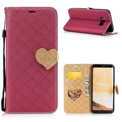 Symphony Checkered Dual Color PU Heart Leather Wallet Case for Samsung Galaxy S8 Plus S8+ - Red