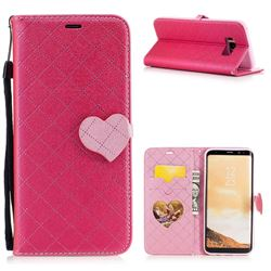 Symphony Checkered Dual Color PU Heart Leather Wallet Case for Samsung Galaxy S8 Plus S8+ - Rose