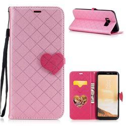 Symphony Checkered Dual Color PU Heart Leather Wallet Case for Samsung Galaxy S8 Plus S8+ - Pink