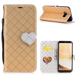Symphony Checkered Dual Color PU Heart Leather Wallet Case for Samsung Galaxy S8 Plus S8+ - Golden