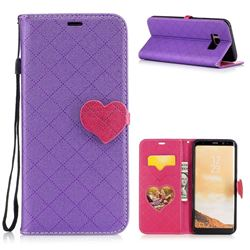 Symphony Checkered Dual Color PU Heart Leather Wallet Case for Samsung Galaxy S8 Plus S8+ - Purple