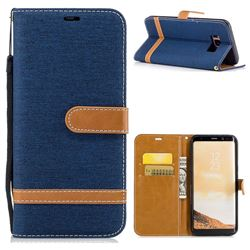 Jeans Cowboy Denim Leather Wallet Case for Samsung Galaxy S8 Plus S8+ - Dark Blue