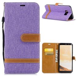 Jeans Cowboy Denim Leather Wallet Case for Samsung Galaxy S8 Plus S8+ - Purple