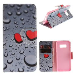 Heart Raindrop PU Leather Wallet Case for Samsung Galaxy S8 Plus S8+