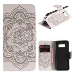 White Flowers PU Leather Wallet Case for Samsung Galaxy S8 Plus S8+