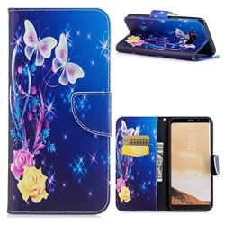 Yellow Flower Butterfly Leather Wallet Case for Samsung Galaxy S8 Plus S8+
