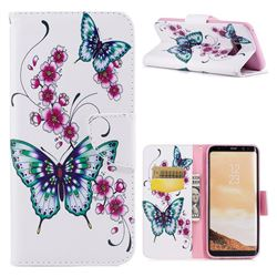 Peach Butterflies Leather Wallet Case for Samsung Galaxy S8 Plus S8+