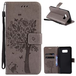 Embossing Butterfly Tree Leather Wallet Case for Samsung Galaxy S8 Plus S8+ - Grey