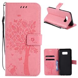 Embossing Butterfly Tree Leather Wallet Case for Samsung Galaxy S8 Plus S8+ - Pink
