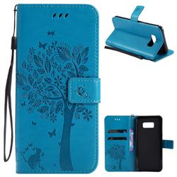 Embossing Butterfly Tree Leather Wallet Case for Samsung Galaxy S8 Plus S8+ - Blue