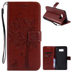 Embossing Butterfly Tree Leather Wallet Case for Samsung Galaxy S8 Plus S8+ - Brown