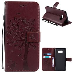 Embossing Butterfly Tree Leather Wallet Case for Samsung Galaxy S8 Plus S8+ - Coffee