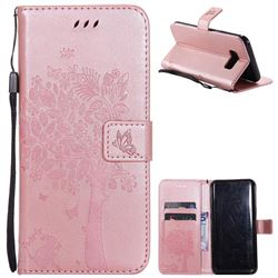 Embossing Butterfly Tree Leather Wallet Case for Samsung Galaxy S8 Plus S8+ - Rose Pink
