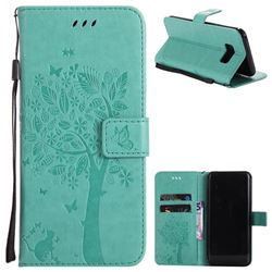 Embossing Butterfly Tree Leather Wallet Case for Samsung Galaxy S8 Plus S8+ - Cyan