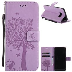 Embossing Butterfly Tree Leather Wallet Case for Samsung Galaxy S8 Plus S8+ - Violet
