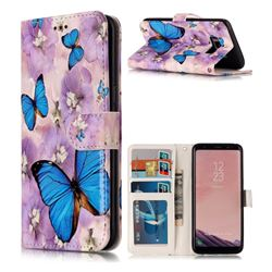 Purple Flowers Butterfly 3D Relief Oil PU Leather Wallet Case for Samsung Galaxy S8 Plus S8+