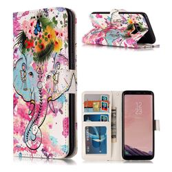 Flower Elephant 3D Relief Oil PU Leather Wallet Case for Samsung Galaxy S8 Plus S8+