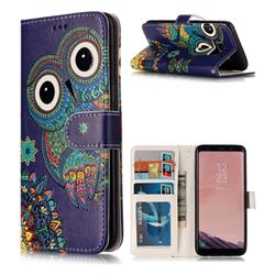 Folk Owl 3D Relief Oil PU Leather Wallet Case for Samsung Galaxy S8 Plus S8+