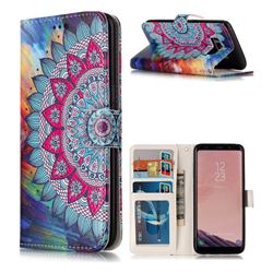 Mandala Flower 3D Relief Oil PU Leather Wallet Case for Samsung Galaxy S8 Plus S8+