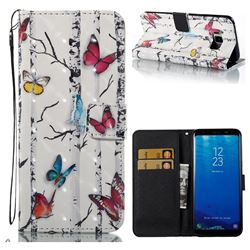 Colored Butterflies 3D Painted Leather Wallet Case for Samsung Galaxy S8 Plus S8+