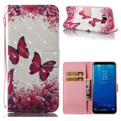 Rose Butterfly 3D Painted Leather Wallet Case for Samsung Galaxy S8 Plus S8+