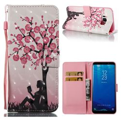 Plum Girl 3D Painted Leather Wallet Case for Samsung Galaxy S8 Plus S8+