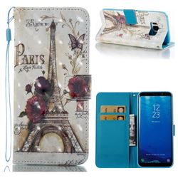 Flower Eiffel Tower 3D Painted Leather Wallet Case for Samsung Galaxy S8 Plus S8+