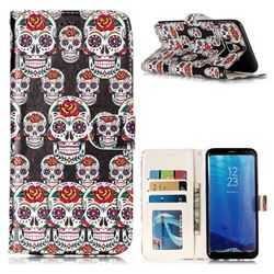 Flower Skull 3D Relief Oil PU Leather Wallet Case for Samsung Galaxy S8 Plus S8+