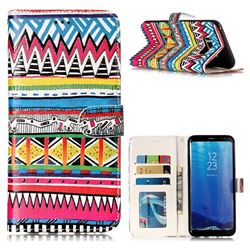 Tribal Pattern 3D Relief Oil PU Leather Wallet Case for Samsung Galaxy S8 Plus S8+