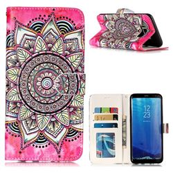 Rose Mandala 3D Relief Oil PU Leather Wallet Case for Samsung Galaxy S8 Plus S8+