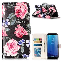Peony 3D Relief Oil PU Leather Wallet Case for Samsung Galaxy S8 Plus S8+