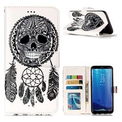 Wind Chimes Skull 3D Relief Oil PU Leather Wallet Case for Samsung Galaxy S8 Plus S8+