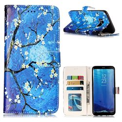 Plum Blossom 3D Relief Oil PU Leather Wallet Case for Samsung Galaxy S8 Plus S8+