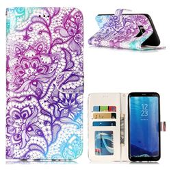 Purple Lotus 3D Relief Oil PU Leather Wallet Case for Samsung Galaxy S8 Plus S8+