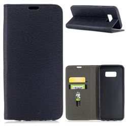 Tree Bark Pattern Automatic suction Leather Wallet Case for Samsung Galaxy S8 Plus S8+ - Black
