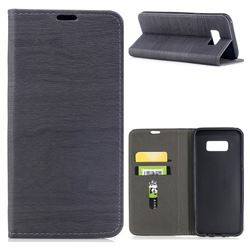 Tree Bark Pattern Automatic suction Leather Wallet Case for Samsung Galaxy S8 Plus S8+ - Gray