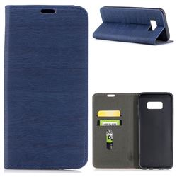 Tree Bark Pattern Automatic suction Leather Wallet Case for Samsung Galaxy S8 Plus S8+ - Blue
